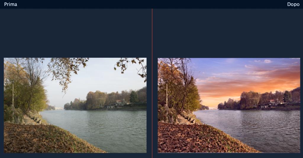 prima e dopo di una immagine a cui è stato modificato lo sfondo