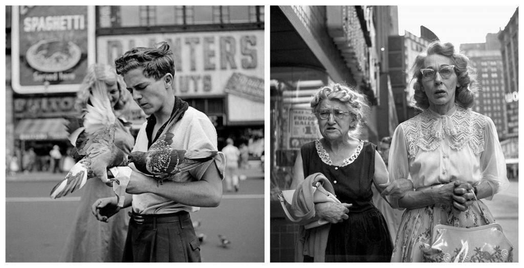 Due fotografie di Vivian Maier che ritraggono persone in strada