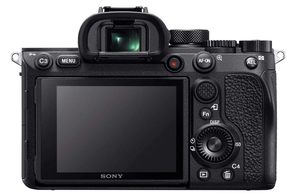Fotocamera Sony A7R IV vista dal retro